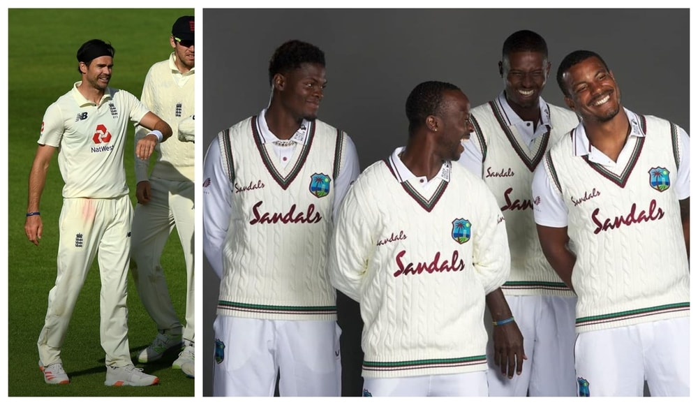 England and West Indies Teams with front logo on Test jersey