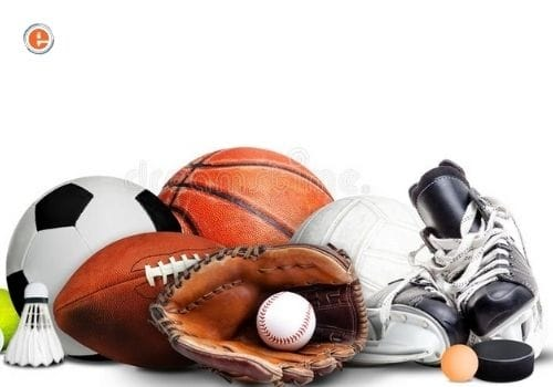 Sports Equipment shoes and football