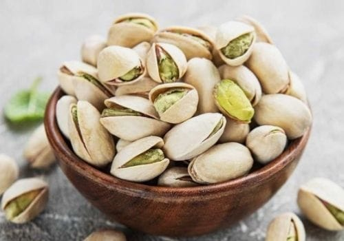 Pistachios Nut in brown bowl