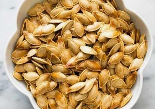 pumpkins Seeds white bowl